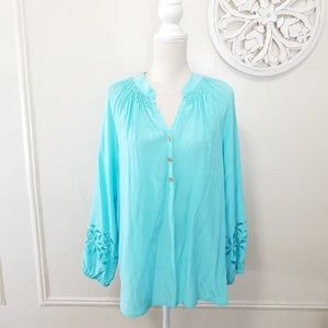 Lilly pulitzer petal eyelet sleeve silk blouse